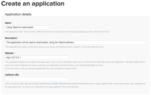 Twitter application form